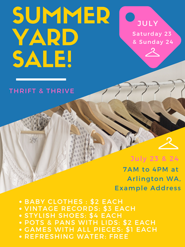 summer yard sale poster example for Chem-Dry Select of Arlington Washington yard sale tips